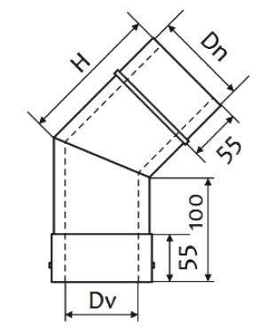 Схема дымоходного колена двустенного 45° нержавейка в оцинковке Версия Люкс