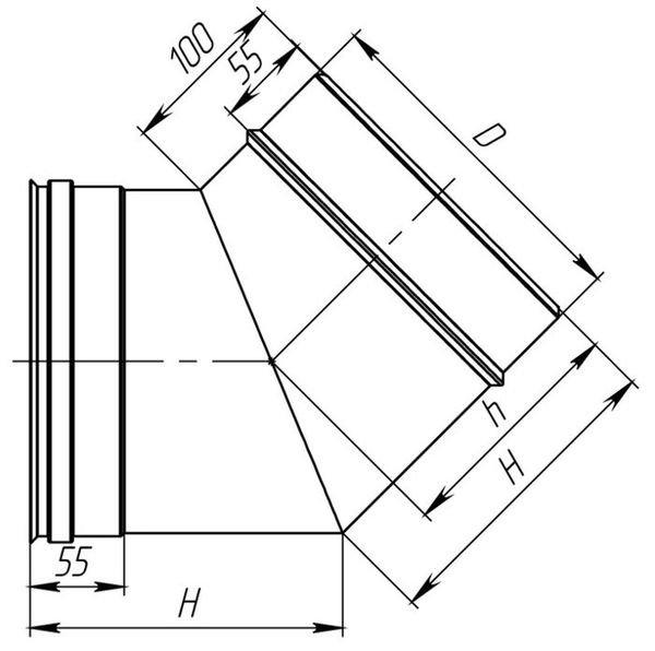 Схема колена дымохода из нержавеющей стали 45° Версия Люкс
