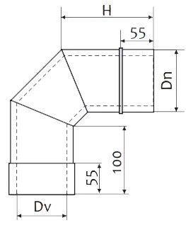 Схема дымоходного колена двустенного 90° нержавейка в оцинковке Версия Люкс