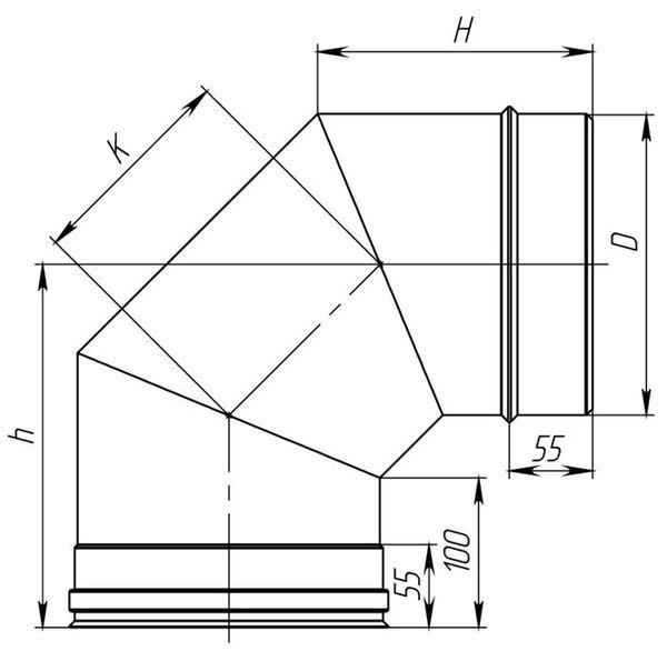 Схема колена дымохода из нерж. стали 90° Версия Люкс