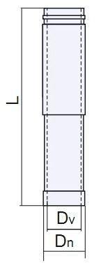 Схема дымоходной трубы-удлинителя двустенной нержавейка в оцинковке Версия Люкс