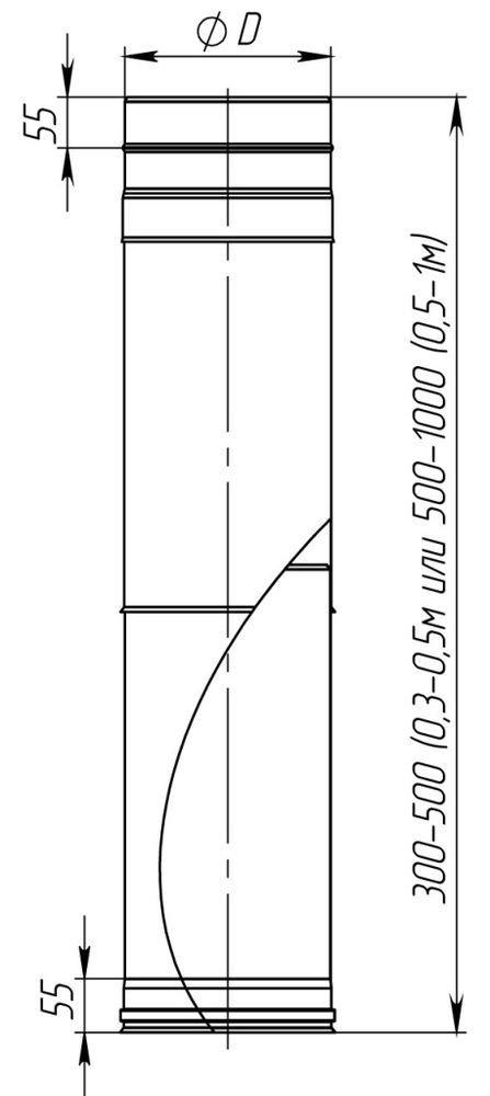 Схема дымоходной трубы-удлинителя из нержавеющей стали одностенной Версия Люкс