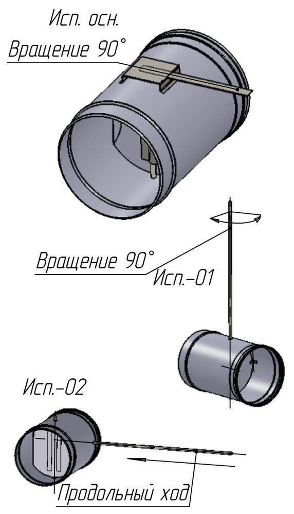 Виды исполнений регулятора тяги с нержавеющей стали Версия Люкс