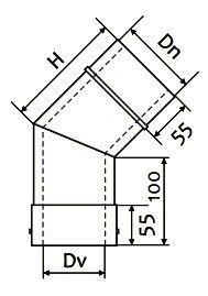 Схема дымоходного колена двустенного 45° Версия Люкс