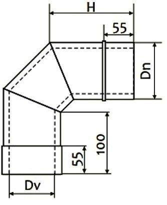 Схема дымоходного колена двустенного 90° Версия Люкс