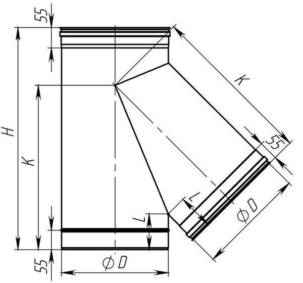 Схема тройника дымоходного 45° из нержавеющей стали Версия Люкс
