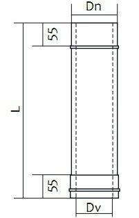 Схема дымоходной трубы двустенной нержавейка в оцинковке Версия Люкс