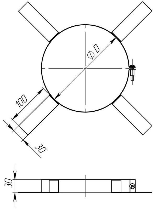 Схема хомута монтажного с нержавеющей стали Версия Люкс