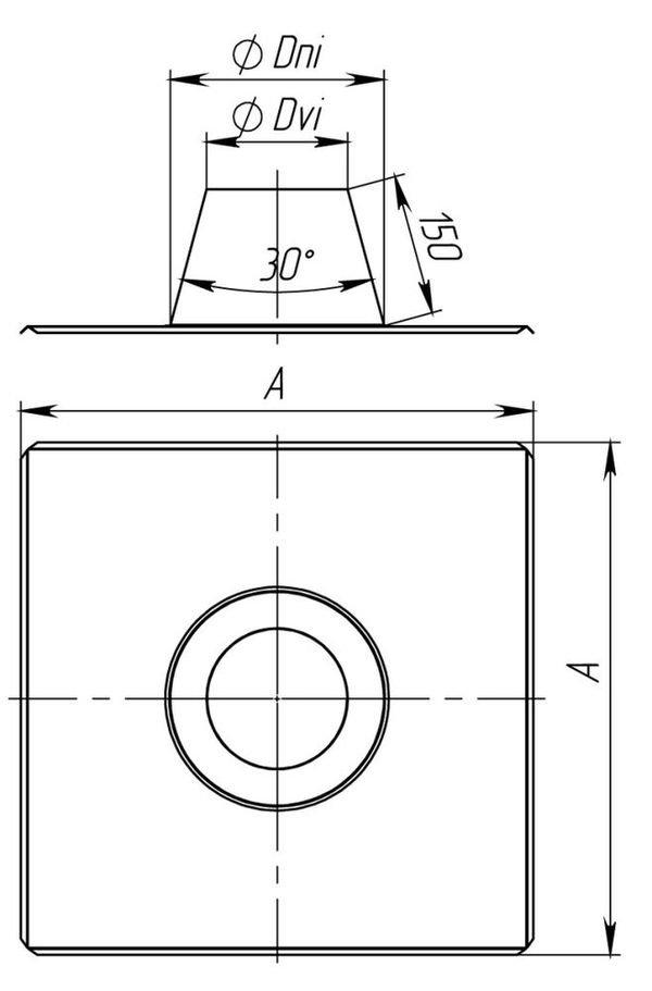 Схема крызы дымоходной 0°-15° с нержавеющей стали одностенной Версия Люкс