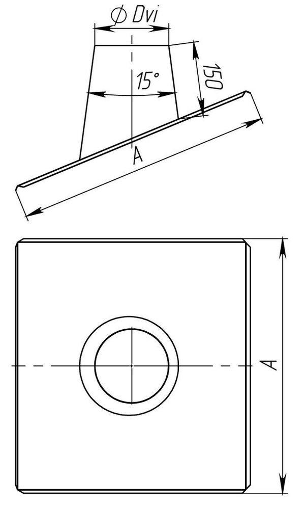 Схема крызы дымоходной 15°-30° с нержавеющей стали одностенной Версия Люкс