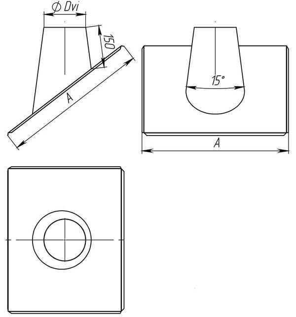 Схема крызы дымоходной 30°-45° с нержавеющей стали одностенной Версия Люкс