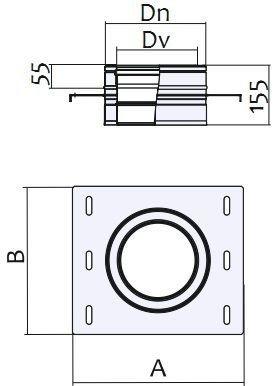 Схема подставки настенной для дымохода Версия Люкс
