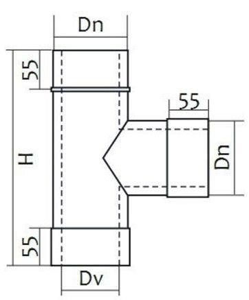 Схема тройника дымоходного 87° двустенного Версия Люкс